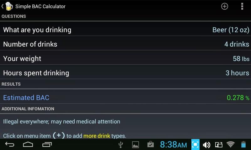 Blood Alcohol Calculator app