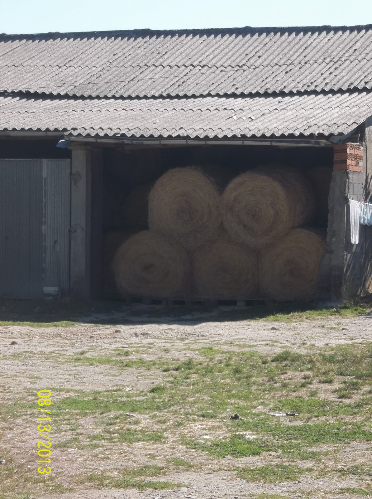 A picture of a barn along the Camino. There are 5 cylindrical bales of hay inside of it.