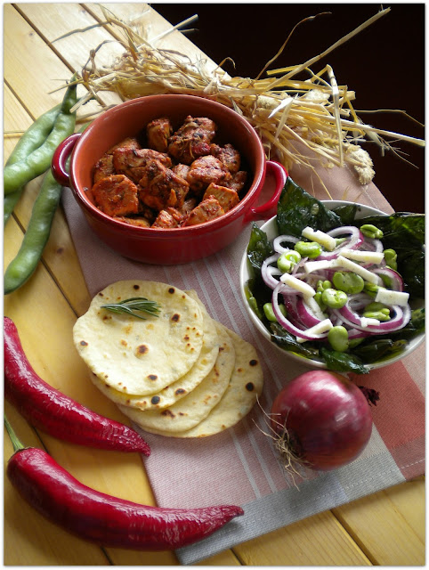 hot chicken chili with fresh salad and rosemary tortillas