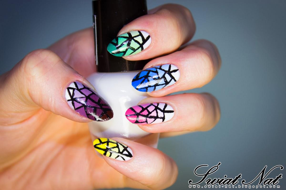 mani manicure paznokcie witraż kolorowe