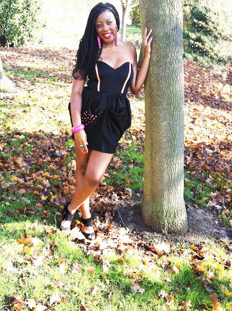 black sweetheart pick up dress with orange ribbon red beads