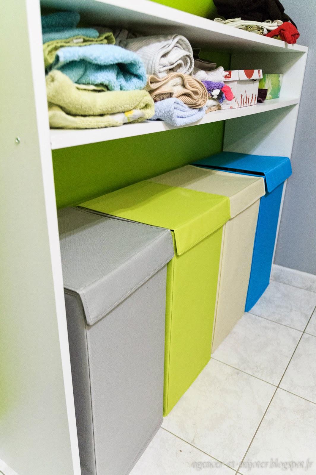agencer et mijoter id e pratique et d co meuble sur mesure pour trier le linge. Black Bedroom Furniture Sets. Home Design Ideas