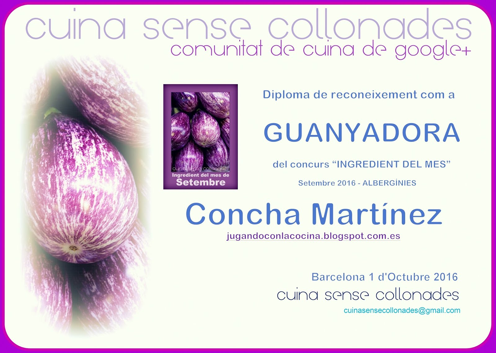 Ganadora del concurso del Ingrediente del mes de septiembre en Cuina Sense Collonades