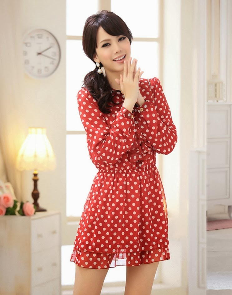 Baju: Mini Dress Polkadot Merah