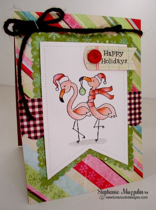 Pink Flamingos Christmas Card by Stephanie Muzzulin | Flirty Flamingos stamp set by Newton's Nook Designs #newtonsnook #flamingo