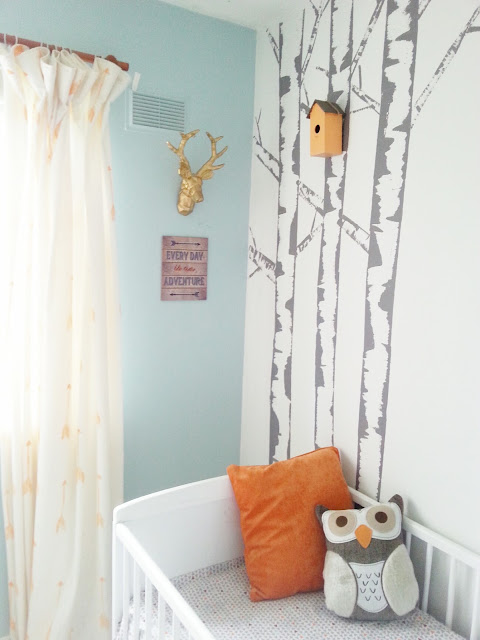 diy birch tree painted mural feature wall nursery kids room