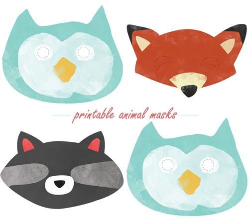 My owl barn woodland creatures baby shower by huggies for Woodland animal masks template