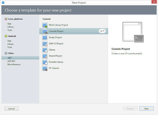 Pic. 1 Creating new Mono.NET console project