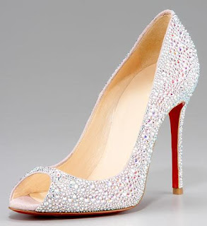Christian Louboutin crystal encrusted peep toe bridal shoes