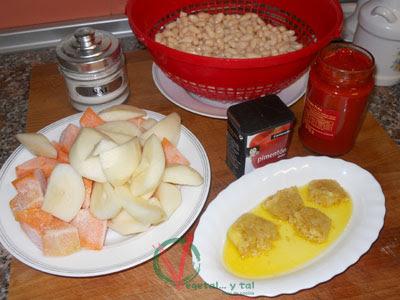 Ingredientes para las Habichuelas con calabaza y pera.