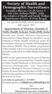 Applications are invited for Director post in Institute of Public Health Kalyani