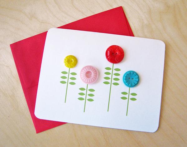 Diy button flower card