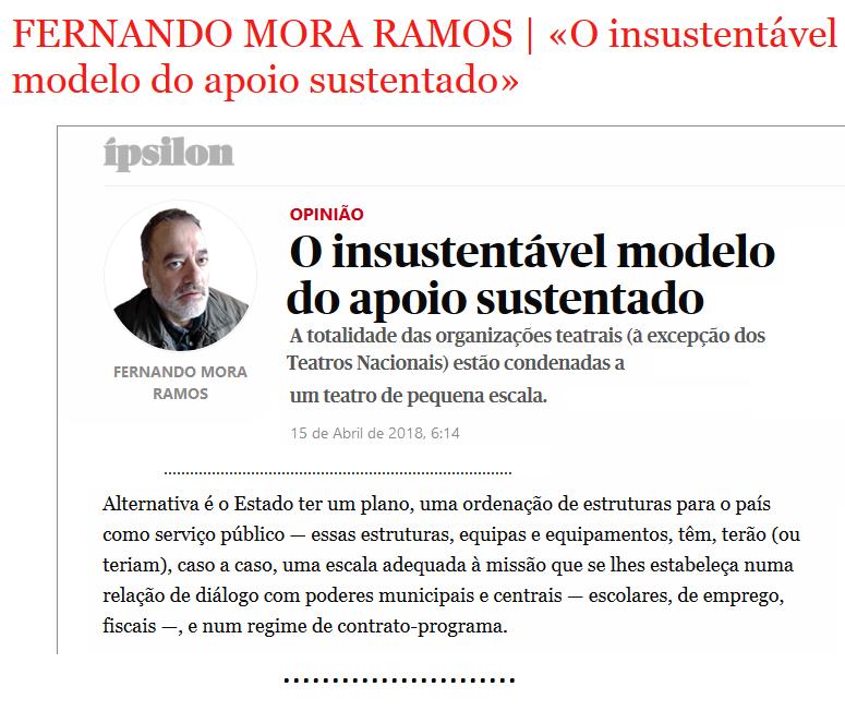 FERNANDO MORA RAMOS | «O INSUSTENTÁVEL MODELO DO APOIO SUSTENTADO»