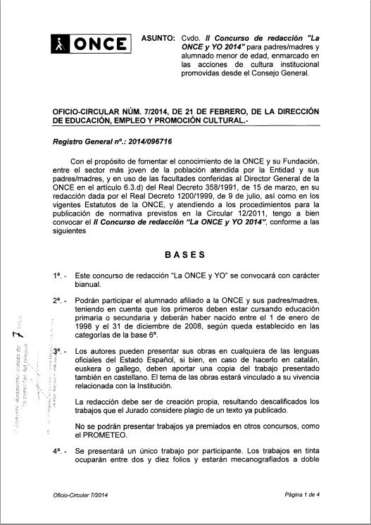 La imagen muestra el oficio circular donde se convoca el concurso
