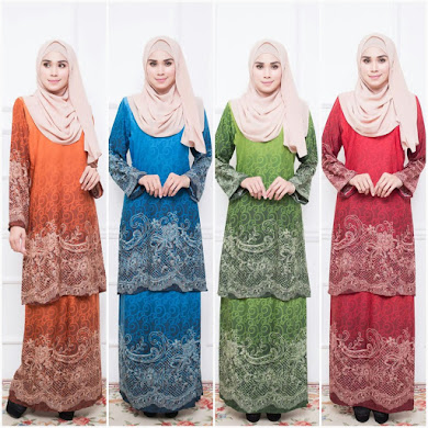 BAJU KURUNG PAHANG ADORIA BERIL LACE - CHOCOLATE BROWN , DODGER BLUE , DARK OLIVE GREEN , DARK RED