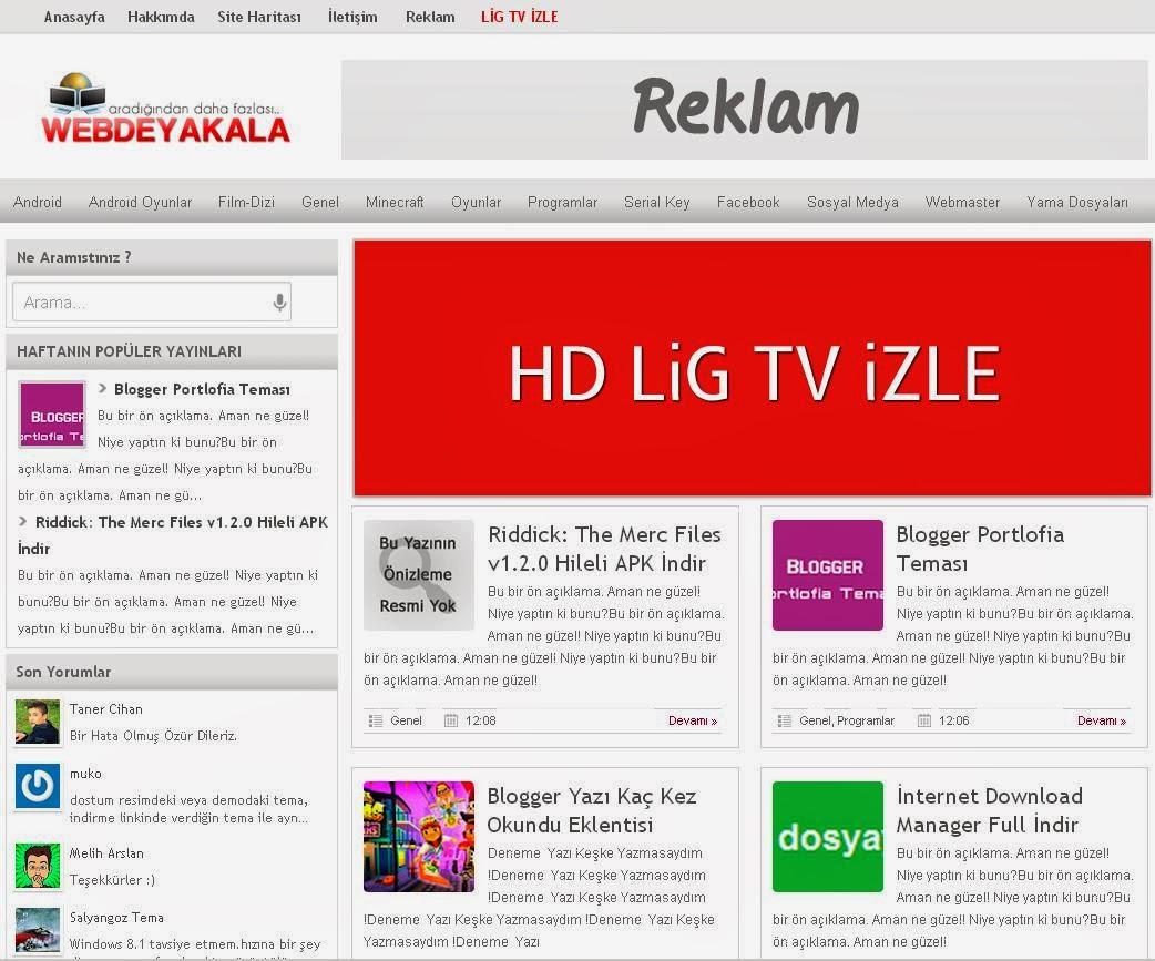 Webdeyakala Portal Blogger Teması