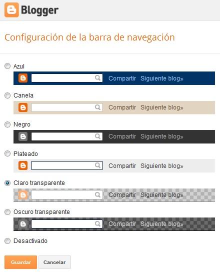 Configuración de la barra de navegación en Blogger