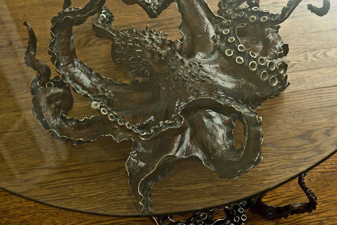 Octopus Table & Sculpture - OCTOPUS Bronze Sculpture & Table: Octopus Table & Sculpture