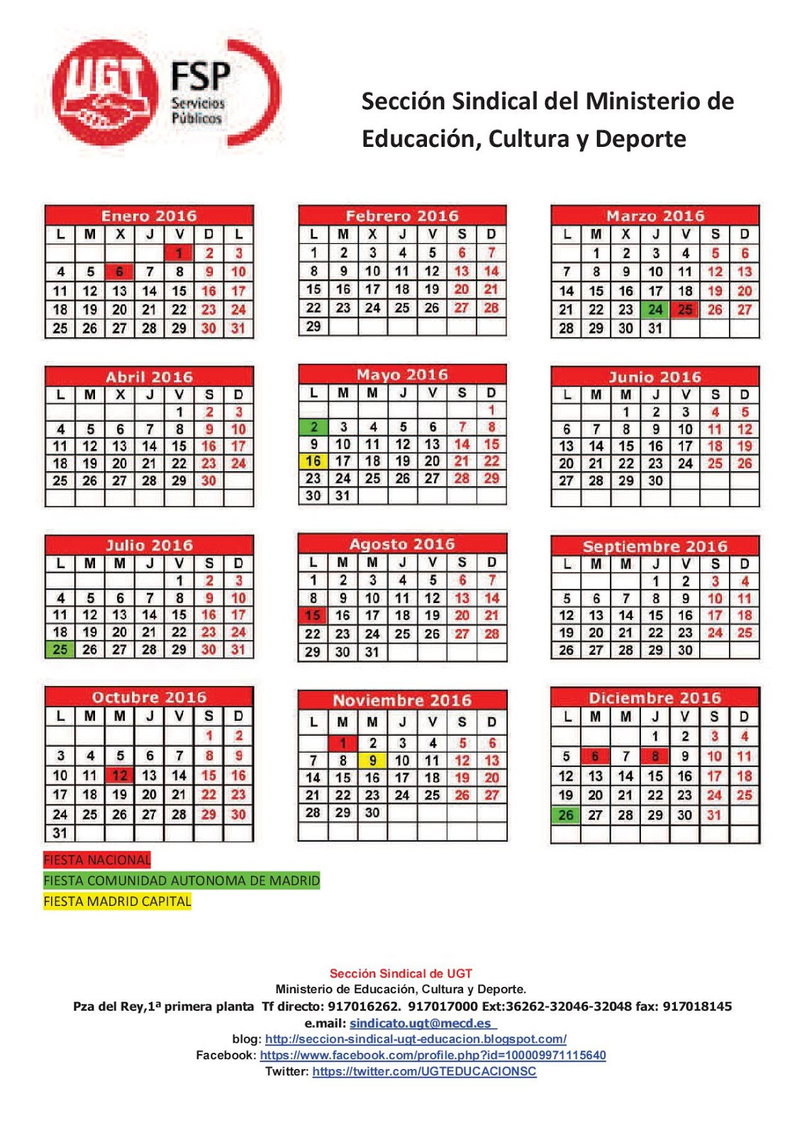 Seccion sindical ugt educacion calendario fiestas 2016 en for Calendario eventos madrid