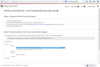 Verify meta tag bing