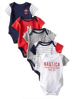 Nautica Baby Boys Newborn Five Pack Bodysuits