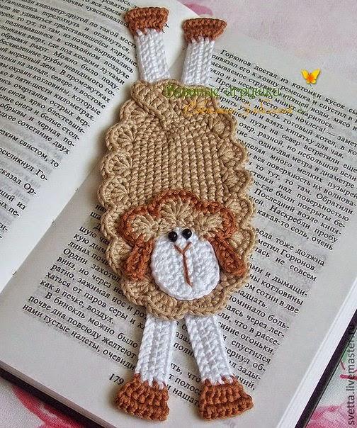 Oveja al crochet , señalador de libro