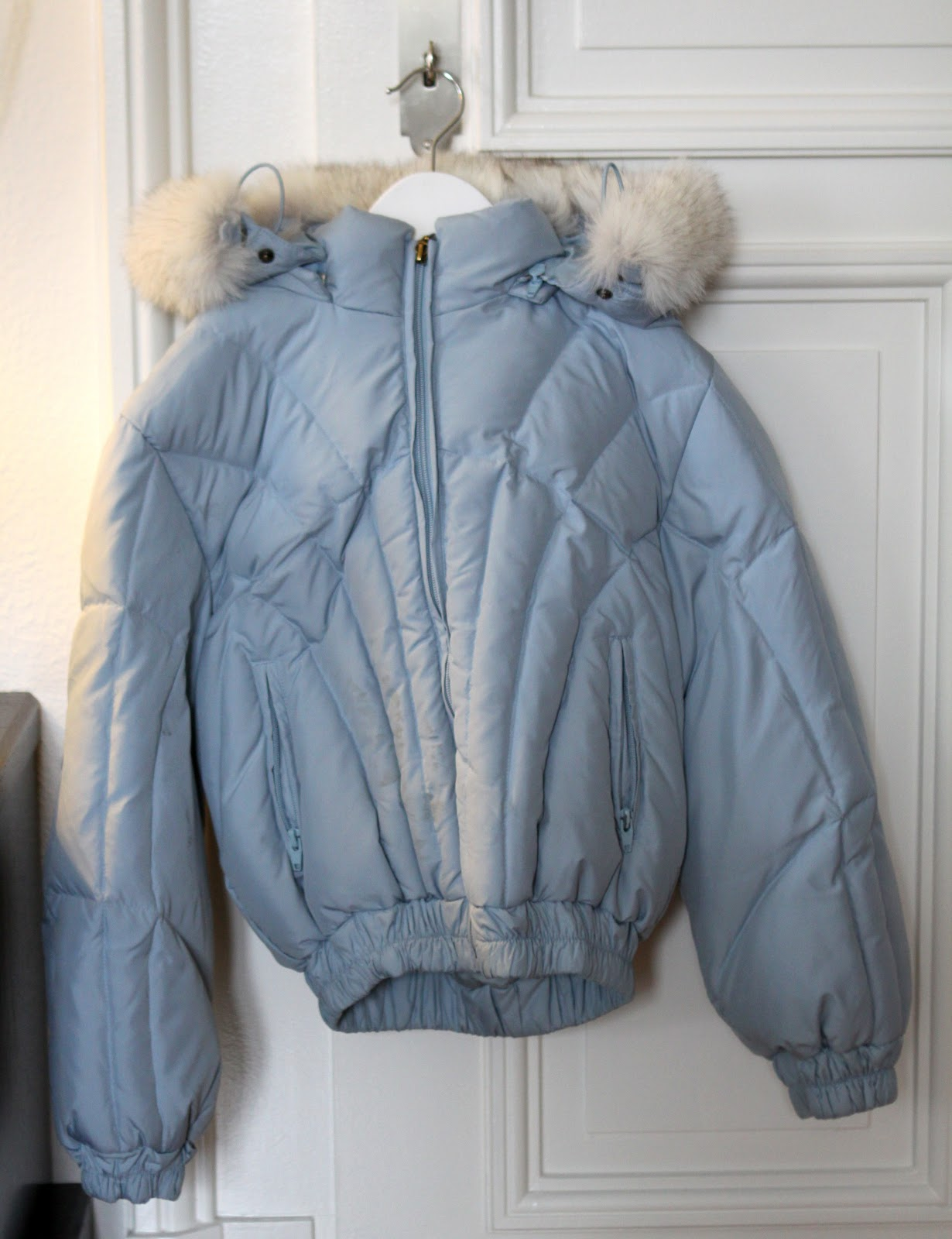 stylish toddler and baby clothes blue moncler jacket with fur. Black Bedroom Furniture Sets. Home Design Ideas