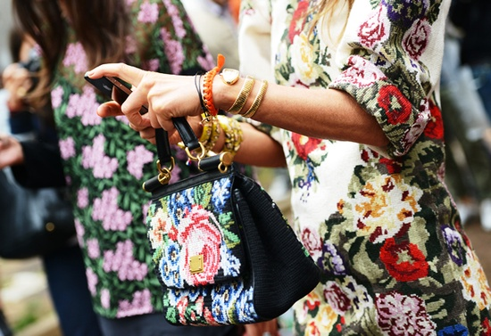 Granny florals on the street during fashion week.  Photo by Tommy Ton
