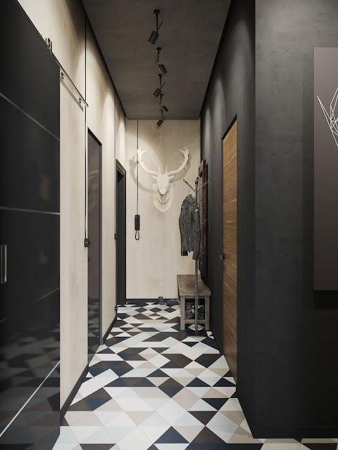 black and white Interior by Denis Krasikov