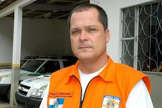 Tenente-coronel Leal, responsável pela Defesa Civil Estadual na Região Serrana: avaliação positiva do simulado em Teresópolis