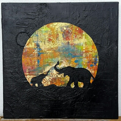 Whoopidooings: Carmen Wing - Elephants #2 Mixed Media canvas