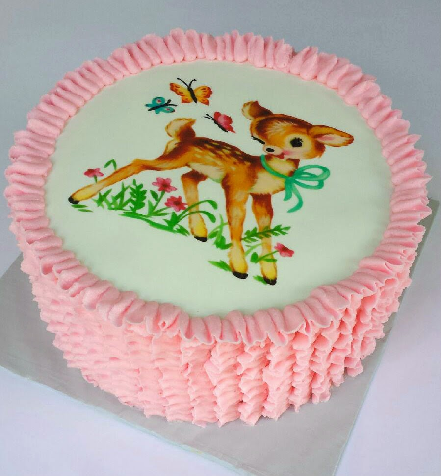 splendid things baby shower cake with vintage deer and ruffle
