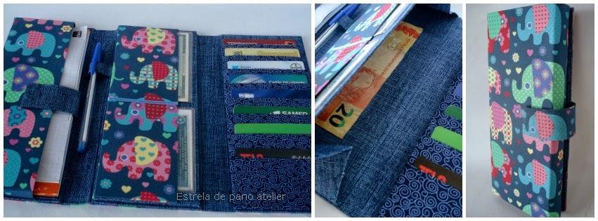 NOVIDADES - Carteira porta talão de cheque, cartões e notas