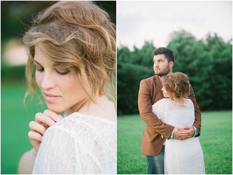 fine art engagement photos in a field