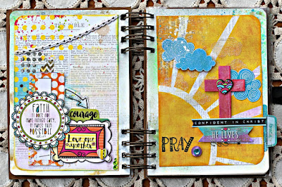 Art Journal pages featuring the Believe Collection by BoBunny designed by Rhonda Van Ginkel