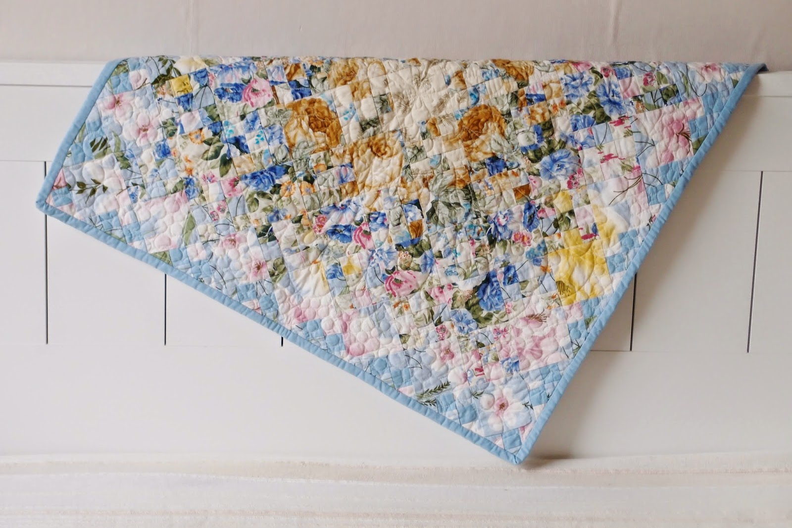 Watercolor Garden Quilt hanging