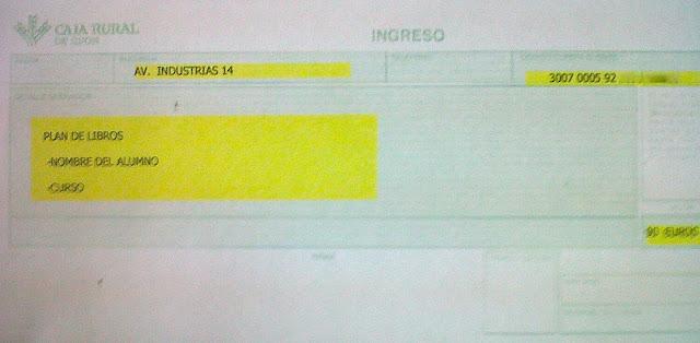 Documento de Ingreso, es muy importante especificar el NOMBRE DEL ALUMNO/A y CURSO que comienza