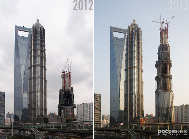 Two pictures of the Shanghai Tower under construction, 2012 and 2013