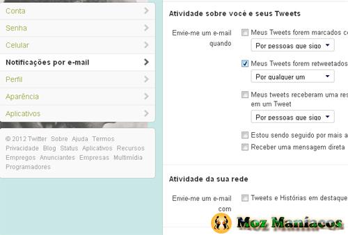 desactivar as notificações de e-mail do Twitter