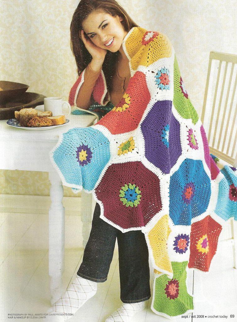 Mossita bella patrones y gr ficos crochet rainbow - Patrones de mantas a crochet ...