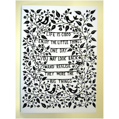 folksy handmade life is good papercut card suzy taylor
