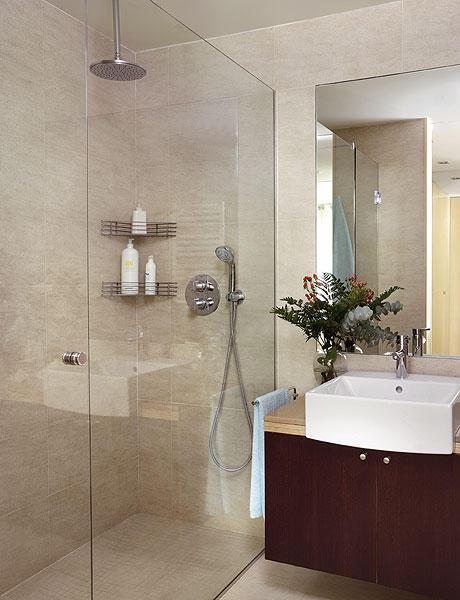 Baño Pequeno Moderno:Diseño de Baño con Ducha grande : Baños y Muebles