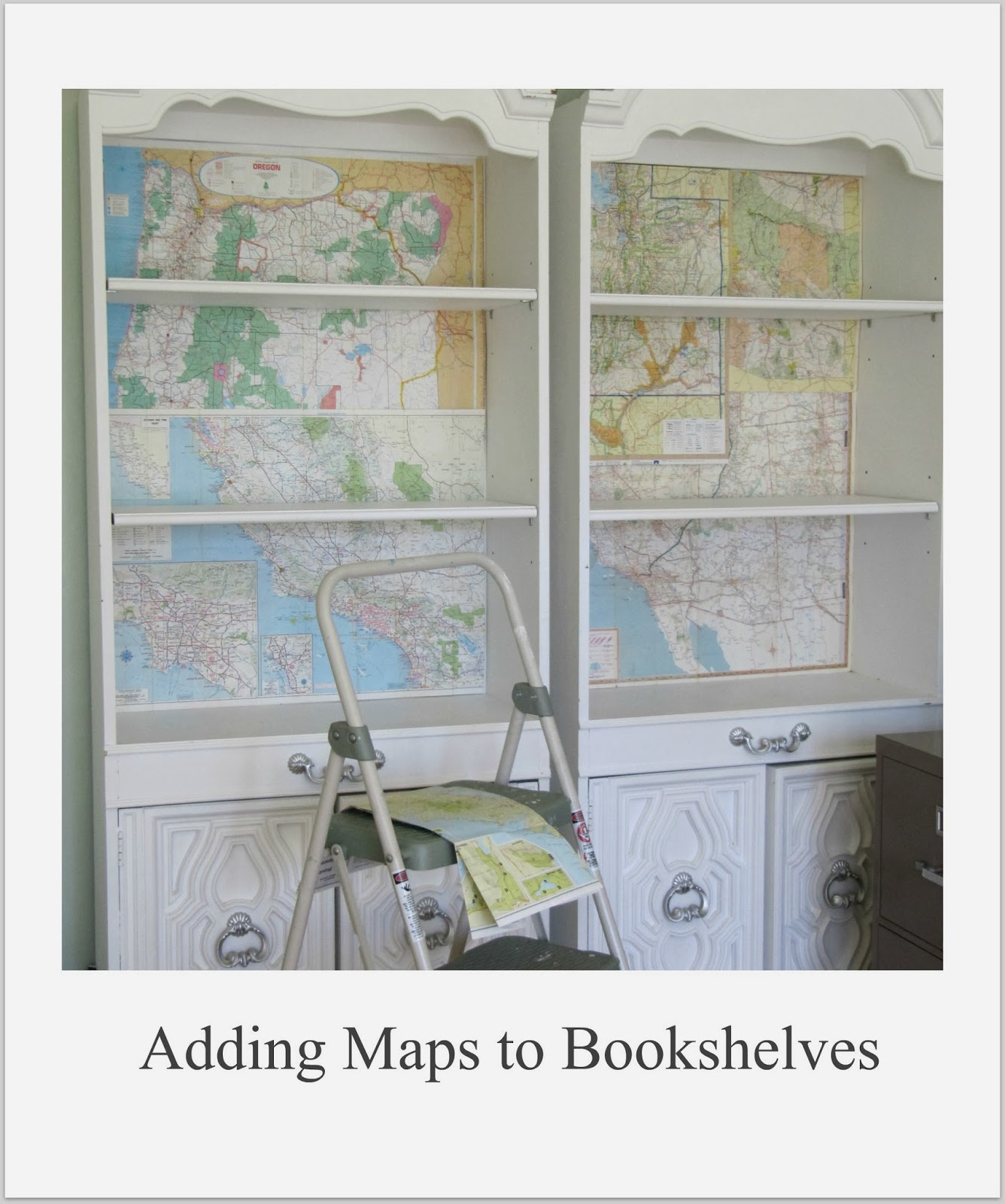 http://thewickerhouse.blogspot.com/2013/09/adding-maps-to-bookshelves-and-winner.html