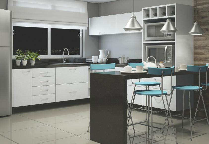 cozinha planejada branca Dimare