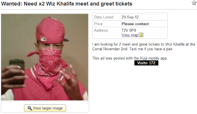 I am looking for 2 meet and greet tickets to Wiz Khalifa at the Corral November 2nd. Text me if you have a pair.