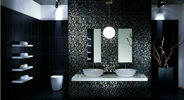 Contemporary black and white bathroom ideas designs for Bathroom design black