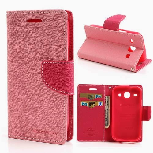 Mercury Goospery Fancy Diary Leather Case for Samsung Galaxy Core I8260 I8262 - Pink