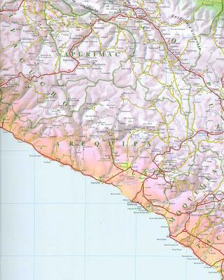 Mapa rodoviário da região de Arequipa