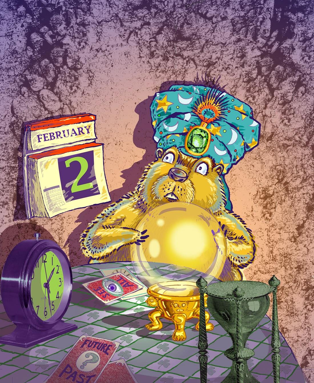 groundhog, woodchuck, whistle-pig, rodent, Punxsutawney Phil, Pennsylvania, deadline, Spider magazine, magazine cover, tablecloth, shamrocks, March, February, prediction, predicting, time, late-night, fortune-teller, future, predict the future, winter, spring, garden, gardens