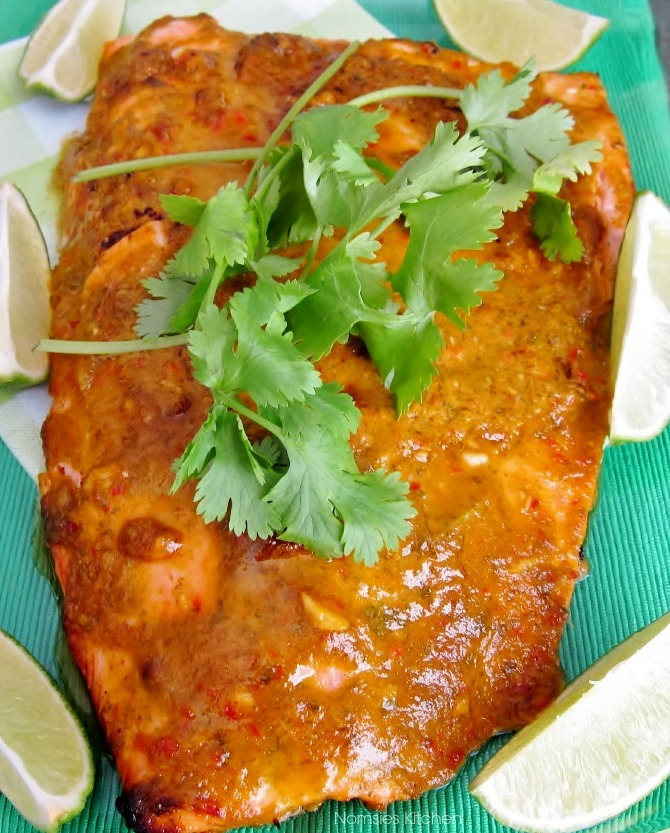 Baked Salmon with Spicy Coriander Sauce